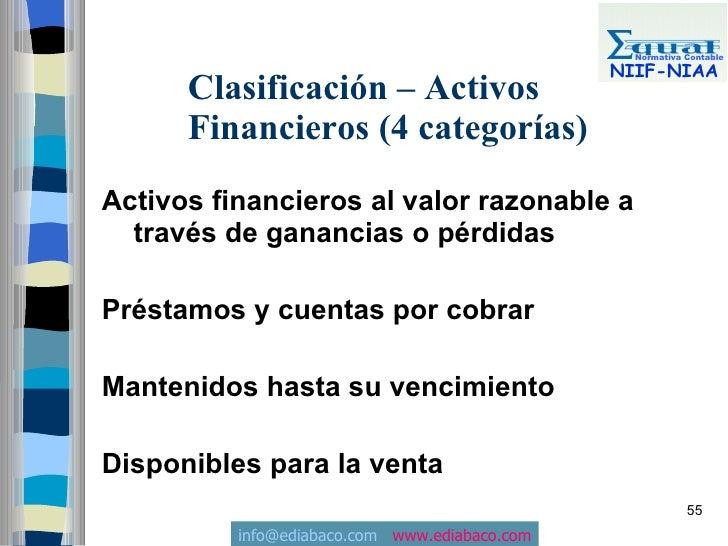 Normativa Contable                                                 NIIF-NIAA       Clasificación – Activos       Financier...