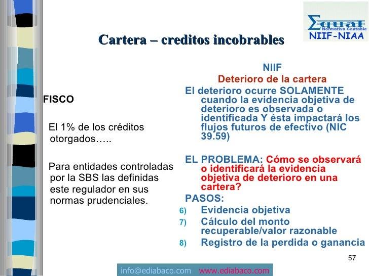 Normativa Contable                                                         NIIF-NIAA           Cartera – creditos incobrab...