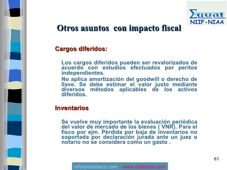 Normativa Contable                                                   NIIF-NIAA Otros asuntos con impacto fiscal  Cargos di...