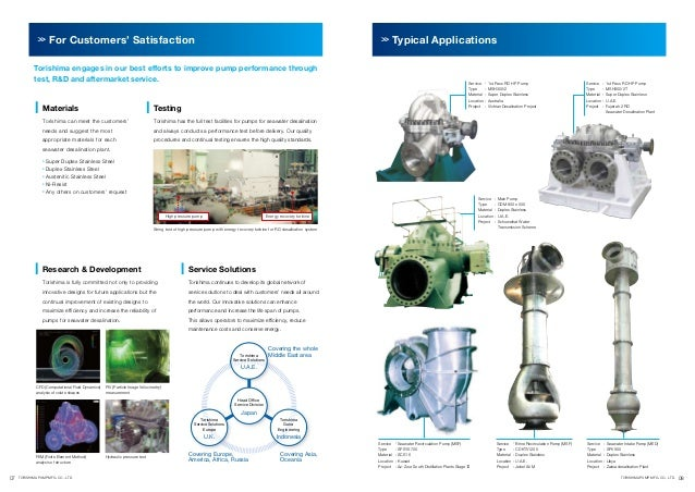 For Customers' Satisfaction  Typical Applications  Torishima engages in our best efforts to improve pump performance throu...