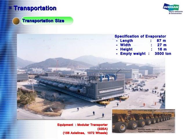 배관 설치 Specification of Evaporator - Length : 87 m - Width : 27 m - Height : 16 m - Empty weight : 3500 ton ▣▣ Transportati...
