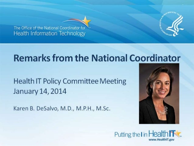 DeSalvo Remarks to HIT Policy Committee 1-14-13