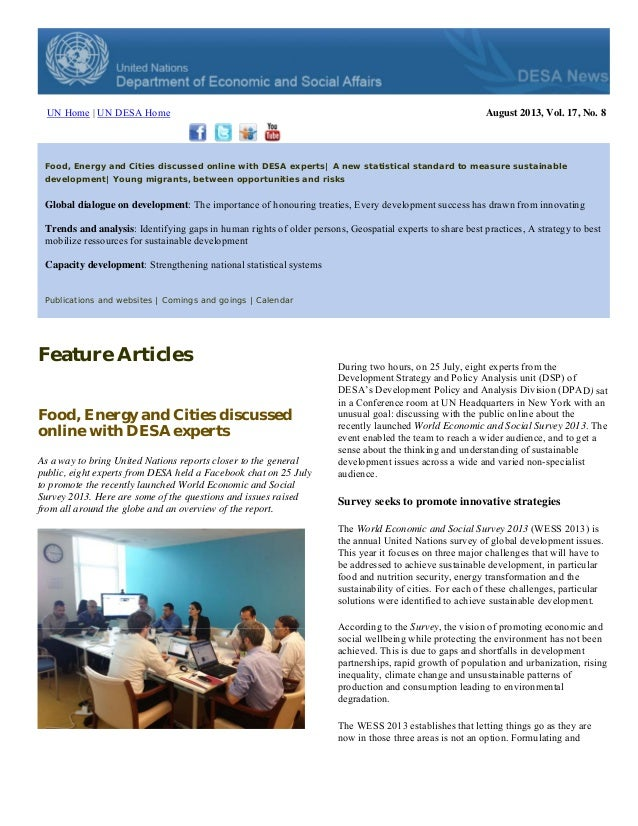UN Home | UN DESA Home August 2013, Vol. 17, No. 8 ood, Energy and Cities discussed online with DESA experts| A new statis...