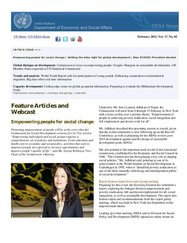UN Home | UN DESA Home                                                                            February 2013, Vol. 17, ...