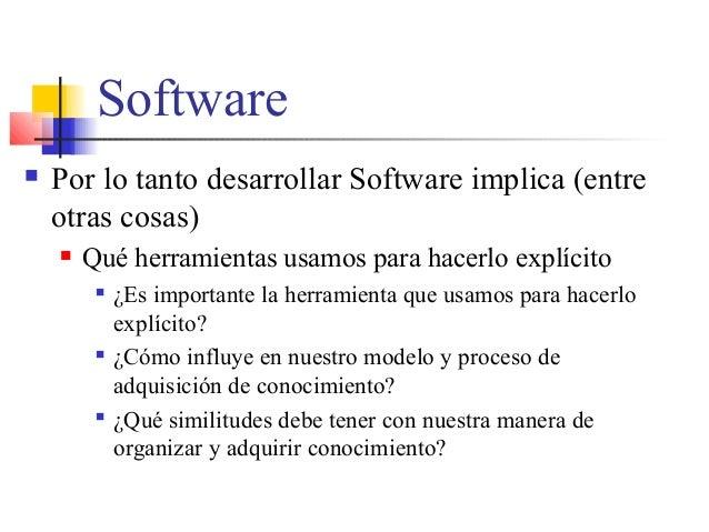 Software  Por lo tanto desarrollar Software implica (entre otras cosas)  Qué herramientas usamos para hacerlo explícito ...