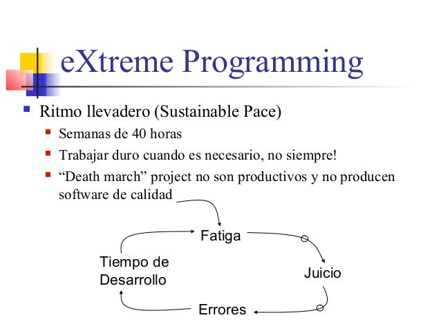 eXtreme Programming  Ritmo llevadero (Sustainable Pace)  Semanas de 40 horas  Trabajar duro cuando es necesario, no sie...