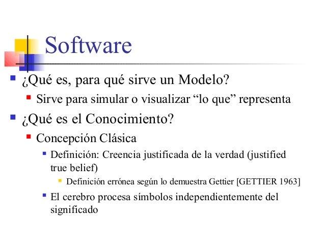 """Software  ¿Qué es, para qué sirve un Modelo?  Sirve para simular o visualizar """"lo que"""" representa  ¿Qué es el Conocimie..."""