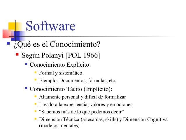 Software  ¿Qué es el Conocimiento?  Según Polanyi [POL 1966]  Conocimiento Explícito:  Formal y sistemático  Ejemplo:...