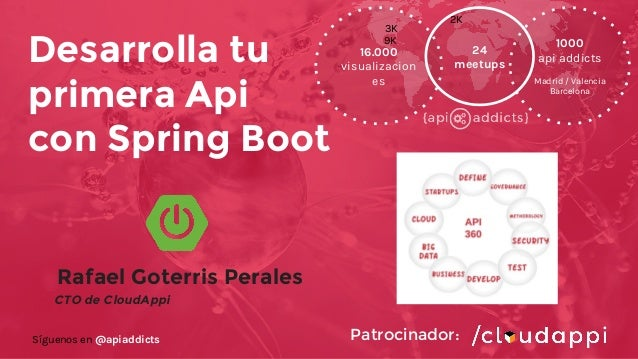 Rafael Goterris Perales CTO de CloudAppi Desarrolla tu primera Api con Spring Boot 16.000 visualizacion es 1000 api addict...