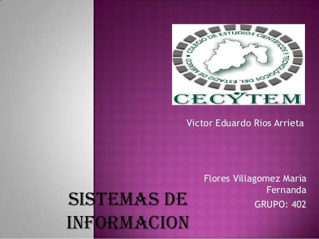 Flores Villagomez Maria Fernanda GRUPO: 402 Victor Eduardo Rios Arrieta SISTEMAS DE INFORMACION