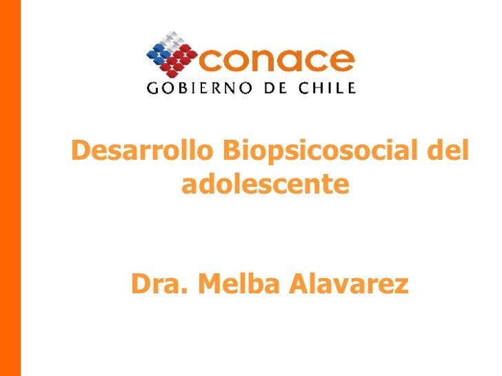 Desarrollo Biopsicosocial del adolescente  Dra. Melba Alavarez