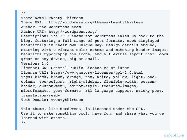 Desarrollo de Themes de WordPress desde cero. @DarioBF en @WPBilbao