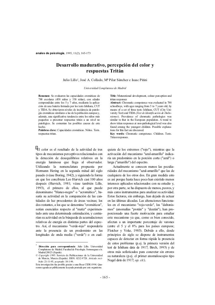 anales de psicología, 1995, 11(2), 165-173                        Desarrollo madurativo, percepción del color y           ...