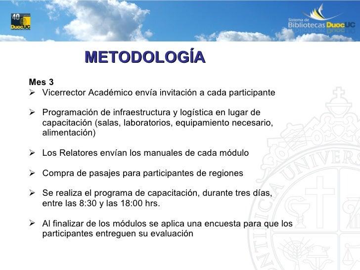 <ul><li>Mes 3 </li></ul><ul><li>Vicerrector Académico envía invitación a cada participante </li></ul><ul><li>Programación ...