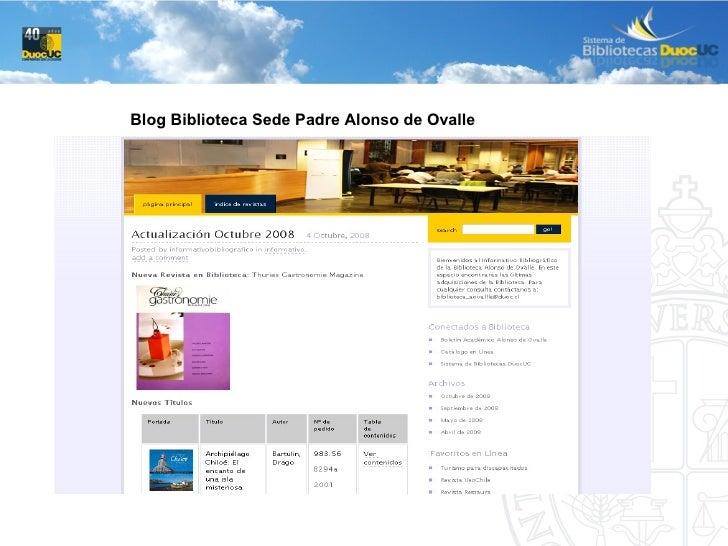 Blog Biblioteca Sede Padre Alonso de Ovalle
