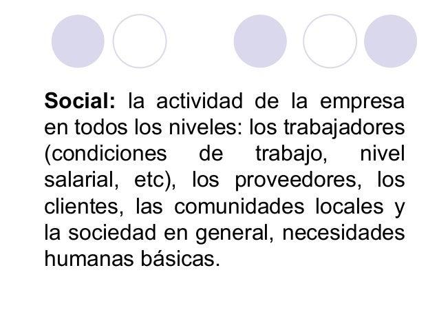 Social: la actividad de la empresa en todos los niveles: los trabajadores (condiciones de trabajo, nivel salarial, etc), l...