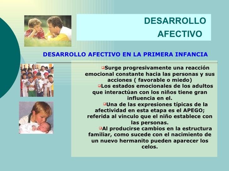 DESARROLLO  AFECTIVO   DESARROLLO AFECTIVO EN LA PRIMERA INFANCIA <ul><ul><li>Surge progresivamente una reacción emocional...