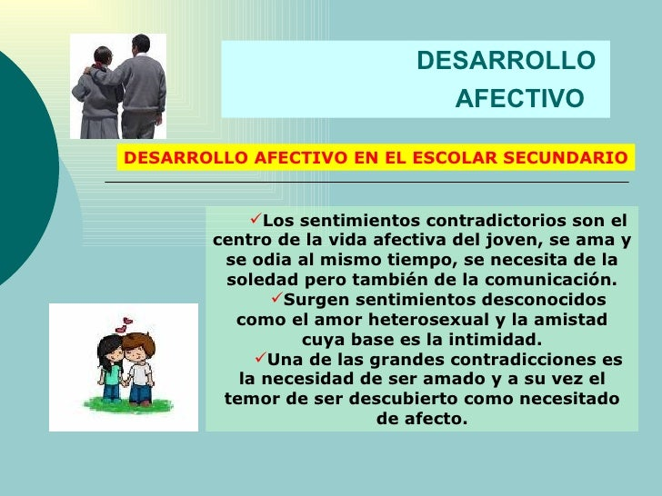 DESARROLLO  AFECTIVO   DESARROLLO AFECTIVO EN EL ESCOLAR SECUNDARIO <ul><li>Los sentimientos contradictorios son el centro...
