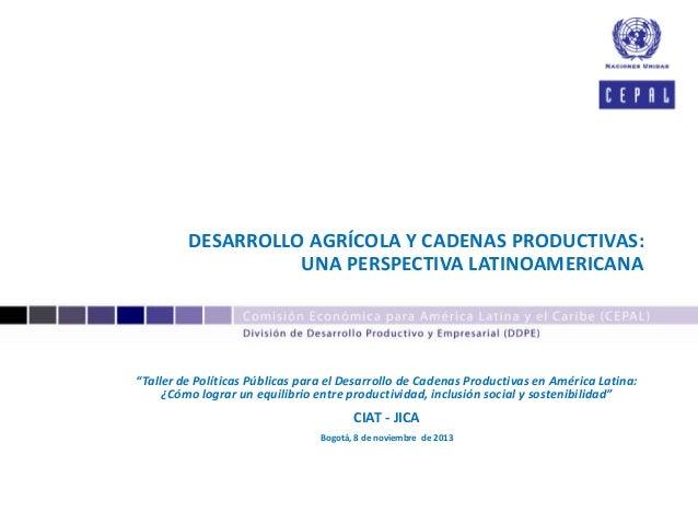 """DESARROLLO AGRÍCOLA Y CADENAS PRODUCTIVAS: UNA PERSPECTIVA LATINOAMERICANA  """"Taller de Políticas Públicas para el Desarrol..."""