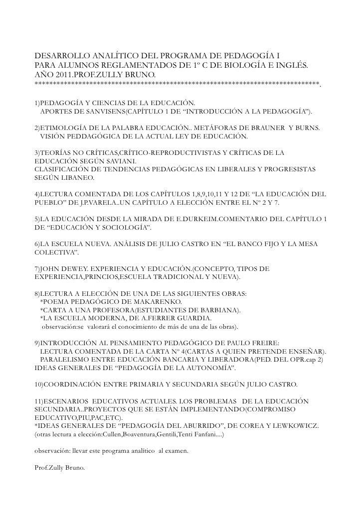 Desarrollo analítico.pedagogía 2011.