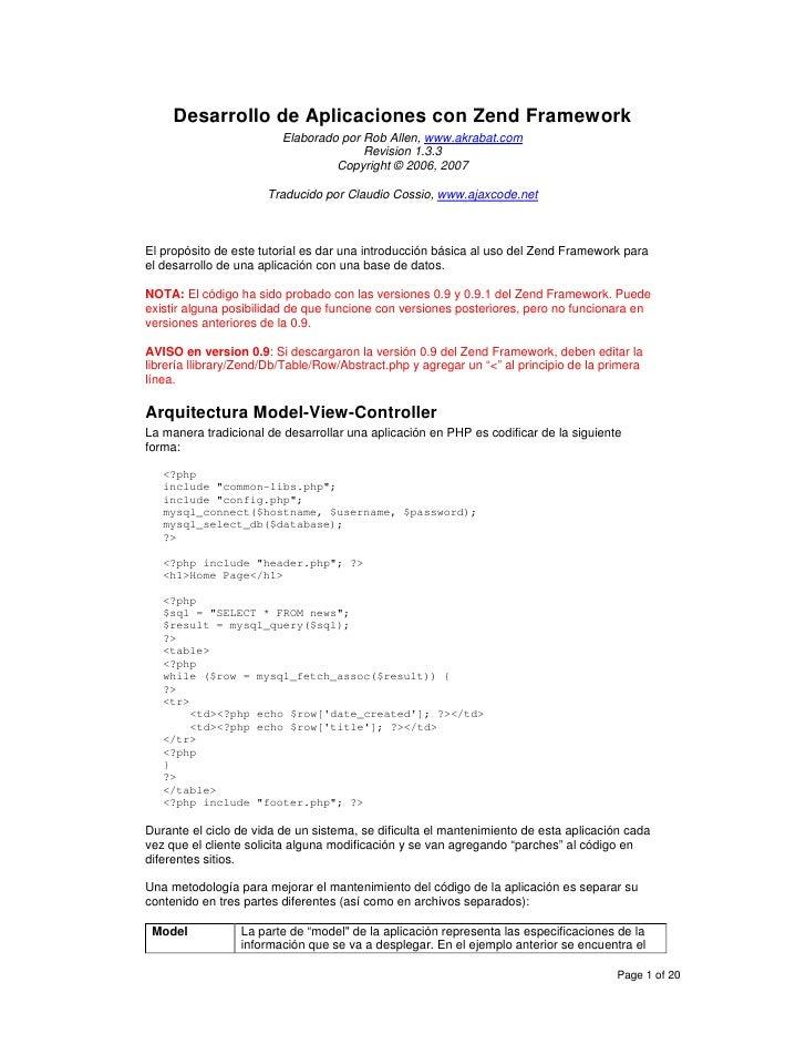Desarrollo de Aplicaciones con Zend Framework                          Elaborado por Rob Allen, www.akrabat.com           ...