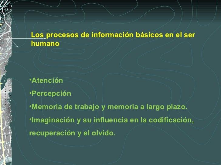<ul><li>Atención </li></ul><ul><li>Percepción </li></ul><ul><li>Memoria de trabajo y memoria a largo plazo. </li></ul><ul>...