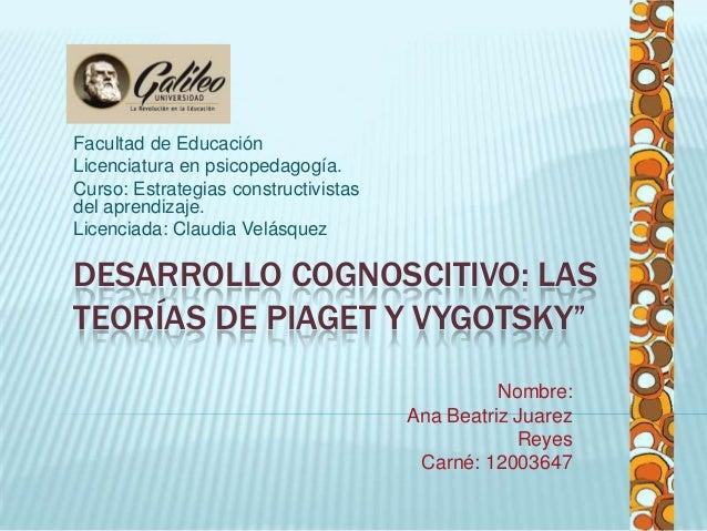 """DESARROLLO COGNOSCITIVO: LAS TEORÍAS DE PIAGET Y VYGOTSKY"""" Facultad de Educación Licenciatura en psicopedagogía. Curso: Es..."""