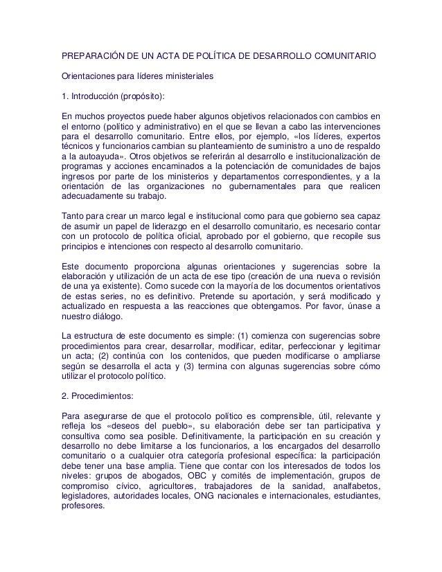 PREPARACIÓN DE UN ACTA DE POLÍTICA DE DESARROLLO COMUNITARIO Orientaciones para líderes ministeriales 1. Introducción (pro...