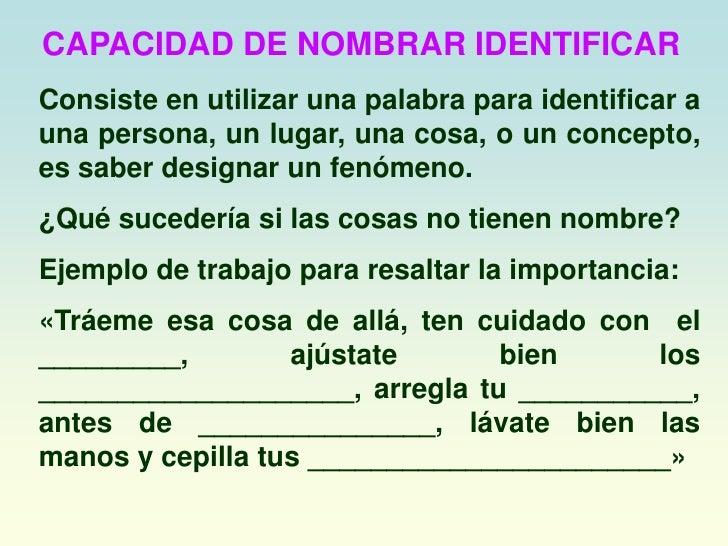 CAPACIDAD DE NOMBRAR IDENTIFICAR<br />Consiste en utilizar una palabra para identificar a una persona, un lugar, una cosa,...