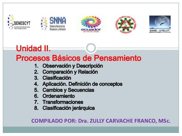 Unidad II. Procesos Básicos de Pensamiento 1. 2. 3. 4. 5. 6. 7. 8.  Observación y Descripción Comparación y Relación Clasi...