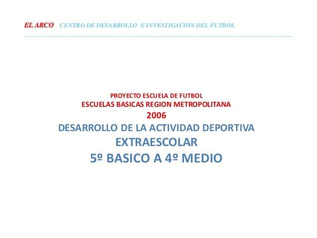 PROYECTO ESCUELA DE FUTBOL ESCUELAS BASICAS REGION METROPOLITANA 2006 DESARROLLO DE LA ACTIVIDAD DEPORTIVA EXTRAESCOLAR 5º...