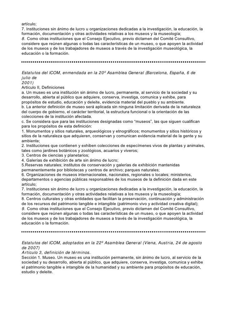Desarrollo de la definicion de museo segun estatutos icom for Definicion de vivero