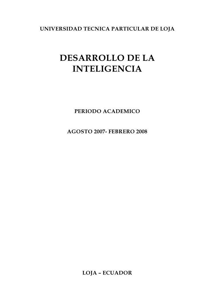 UNIVERSIDAD TECNICA PARTICULAR DE LOJA          DESARROLLO DE LA        INTELIGENCIA             PERIODO ACADEMICO        ...
