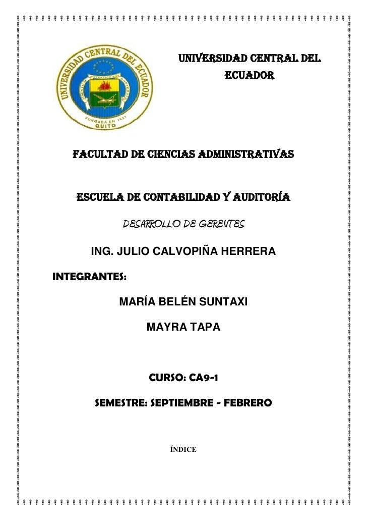UNIVERSIDAD CENTRAL DEL ECUADOR                                                    <br />FACULTAD DE CIENCIAS ADMINISTRATI...