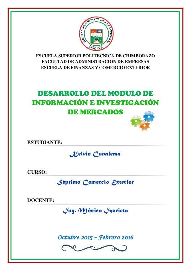 ESCUELA SUPERIOR POLITECNICA DE CHIMBORAZO FACULTAD DE ADMINISTRACION DE EMPRESAS ESCUELA DE FINANZAS Y COMERCIO EXTERIOR ...