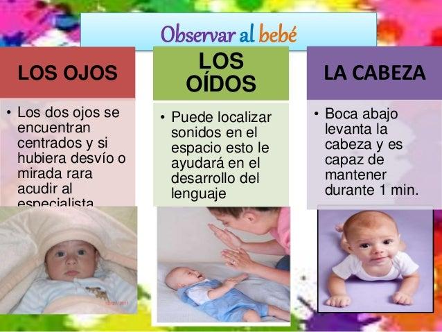 Observar al bebé LOS OJOS • Los dos ojos se encuentran centrados y si hubiera desvío o mirada rara acudir al especialista....