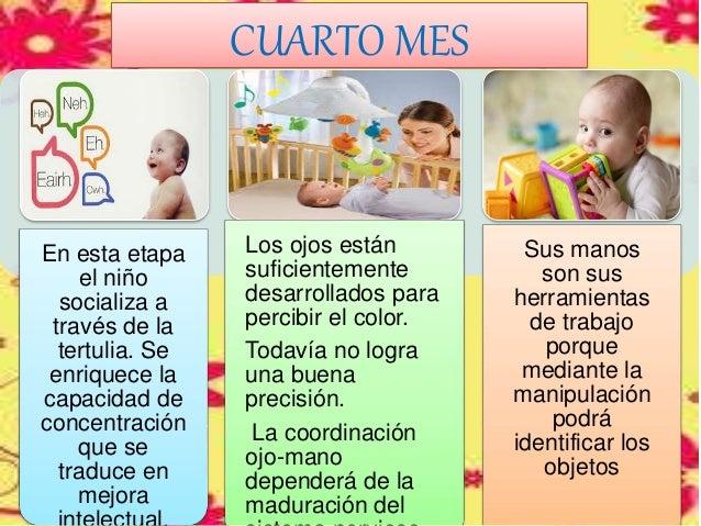 CUARTO MES En esta etapa el niño socializa a través de la tertulia. Se enriquece la capacidad de concentración que se trad...