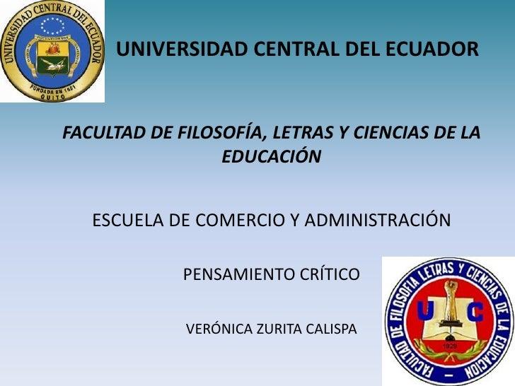 UNIVERSIDAD CENTRAL DEL ECUADORFACULTAD DE FILOSOFÍA, LETRAS Y CIENCIAS DE LA                 EDUCACIÓN   ESCUELA DE COMER...