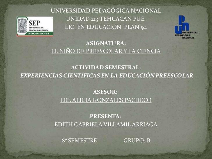 UNIVERSIDAD PEDAGÓGICA NACIONAL              UNIDAD 213 TEHUACÁN PUE.              LIC. EN EDUCACIÓN PLAN'94              ...