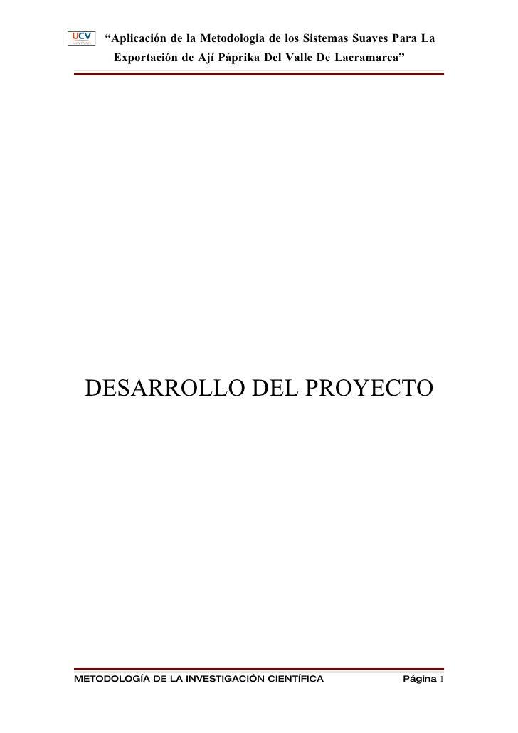 """""""Aplicación de la Metodologia de los Sistemas Suaves Para La       Exportación de Ají Páprika Del Valle De Lacramarca""""    ..."""