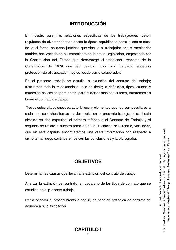 Extincion del contrato de trabajo Contrato trabajo
