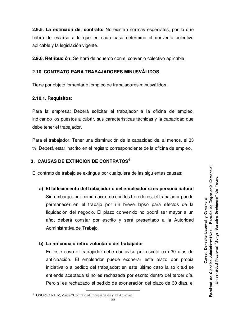 Extincion del contrato de trabajo Contrato laboral de trabajo