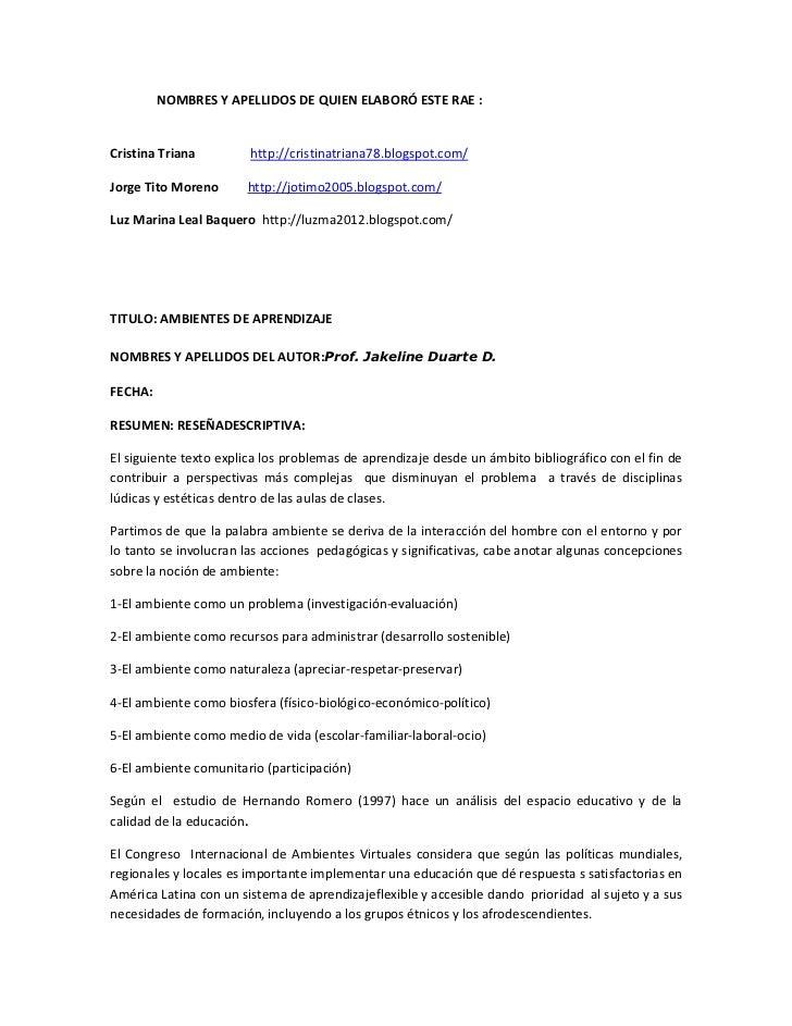 NOMBRES Y APELLIDOS DE QUIEN ELABORÓ ESTE RAE :Cristina Triana         http://cristinatriana78.blogspot.com/Jorge Tito Mor...