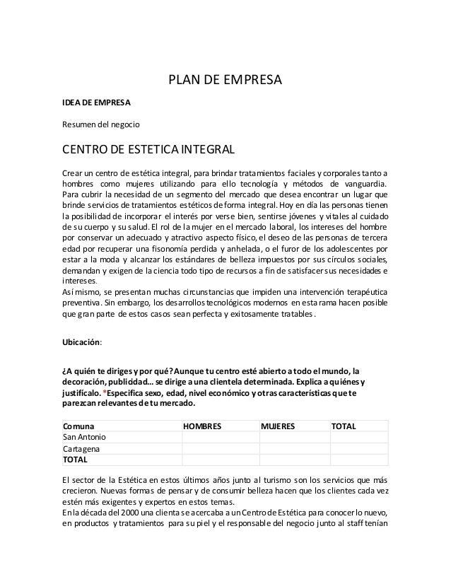 Desarrollo de plan de negocio centro de estetica