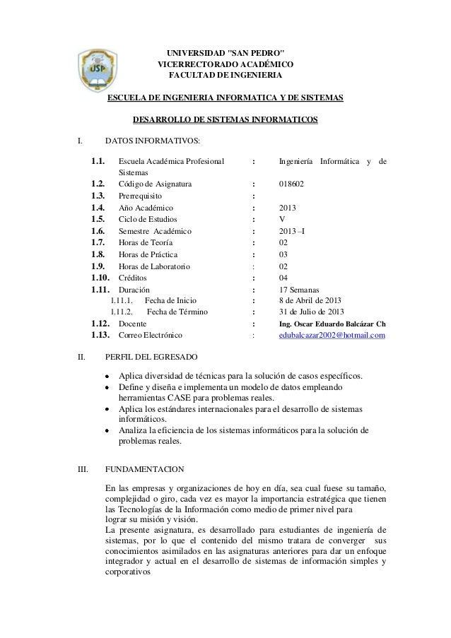"""UNIVERSIDAD """"SAN PEDRO"""" VICERRECTORADO ACADÉMICO FACULTAD DE INGENIERIA ESCUELA DE INGENIERIA INFORMATICA Y DE SISTEMAS DE..."""