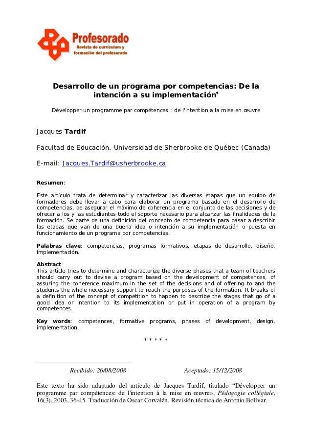 Desarrollo de un programa por competencias: De la                intención a su implementación∗     Développer un programm...