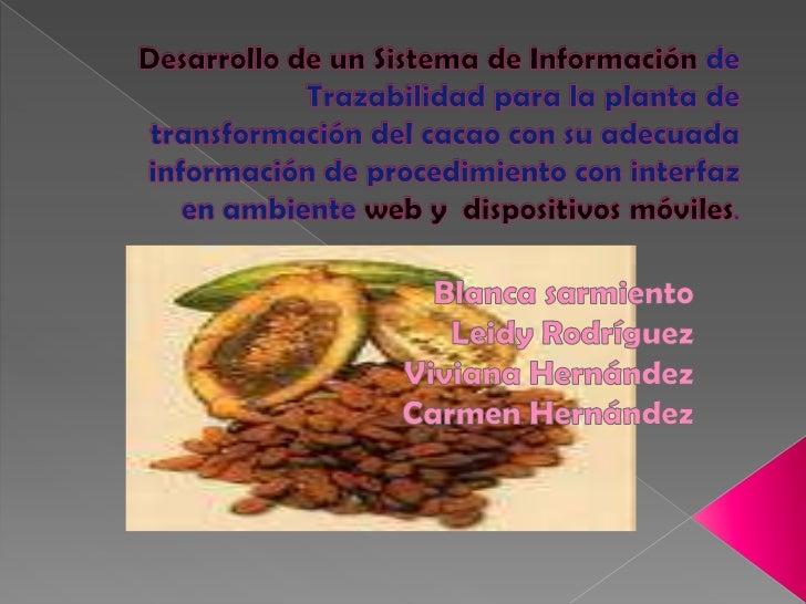 Desarrollo de un Sistema de Información de Trazabilidad para la planta de transformación del cacao con su adecuada informa...