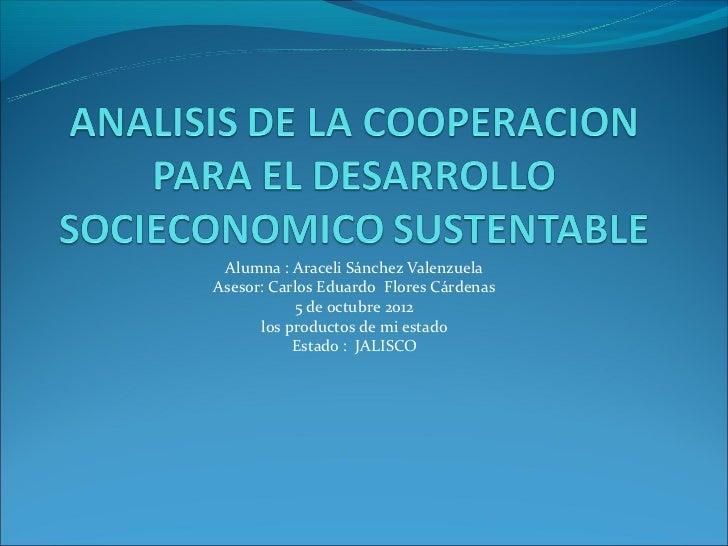 Alumna : Araceli Sánchez ValenzuelaAsesor: Carlos Eduardo Flores Cárdenas            5 de octubre 2012      los productos ...