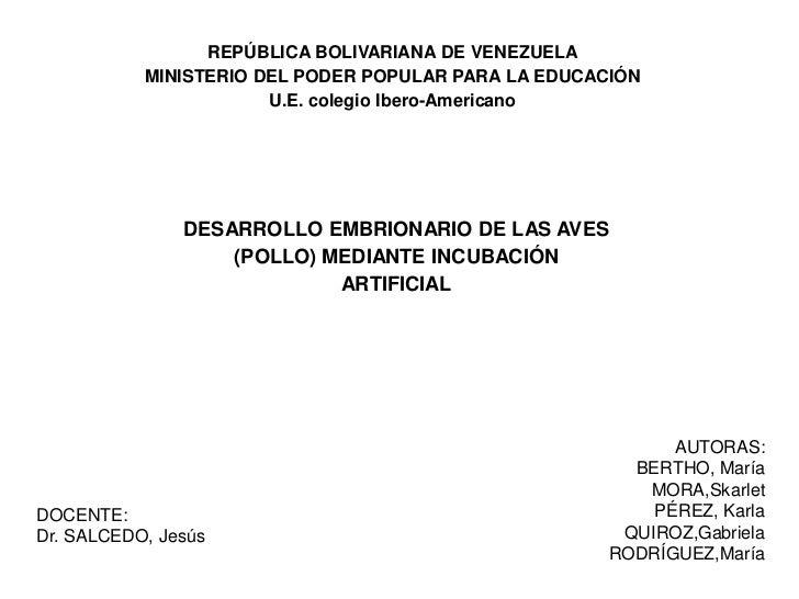 REPÚBLICA BOLIVARIANA DE VENEZUELA            MINISTERIO DEL PODER POPULAR PARA LA EDUCACIÓN                        U.E. c...