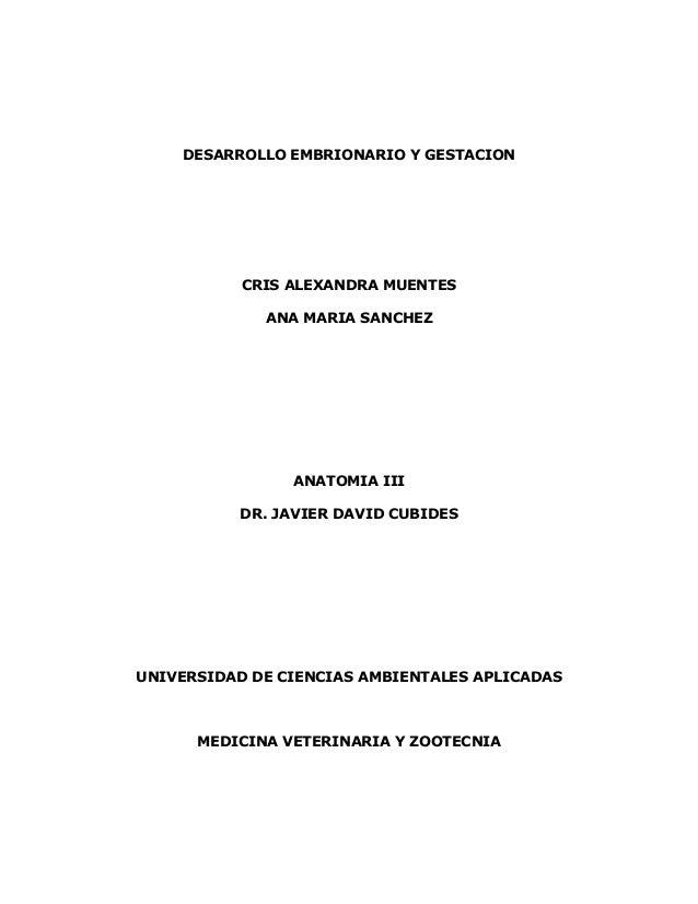 DESARROLLO EMBRIONARIO Y GESTACIONCRIS ALEXANDRA MUENTESANA MARIA SANCHEZANATOMIA IIIDR. JAVIER DAVID CUBIDESUNIVERSIDAD D...